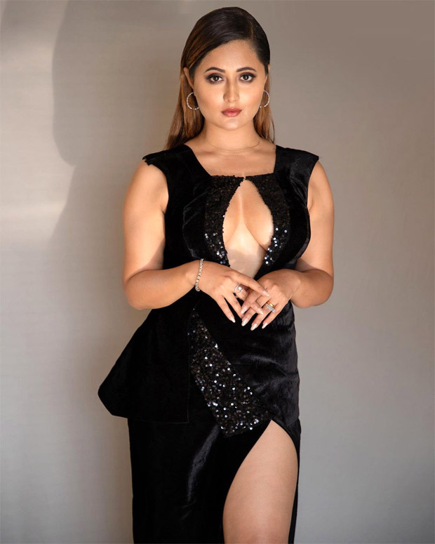 Rashami Desai goes bold with plunging neckline and thigh-high slit black gown