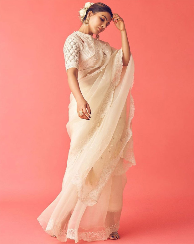 Samantha Akkineni keeps it regal in chanderi saree with coral embroidery for the launch of Shakuntalam