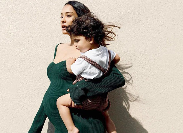Lisa Haydon poses with son Leo, says it took three pregnancies to figure out how to dress her baby bump