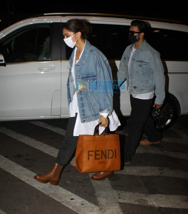 Ranveer Singh and Deepika Padukone leave for Bengaluru donning matching outfits, actress carries luxury Fendi tote worth Rs. 2.1 lakhs