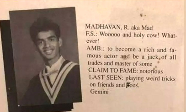 R Madhavan's yearbook reveals his true ambition and his nickname