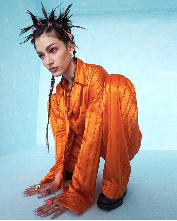 Money Heist star Úrsula Corberó stuns in satin orange pajama set and quirky 90s style spiky hairdo