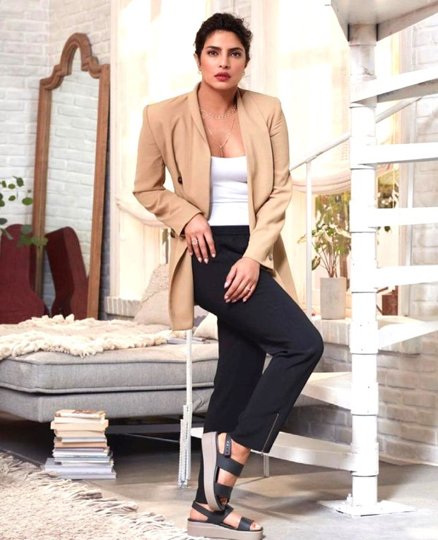 Priyanka Chopra is effortlessly chic in basic white t-shirt and pants paired with blazer and crocs