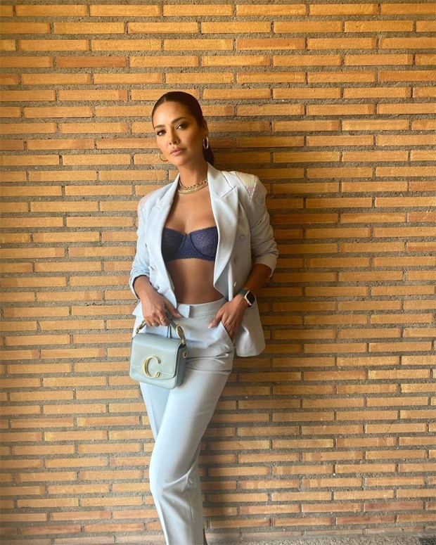 Esha Gupta pairs a pantsuit with a lacy bralette and it's a sexy combination ever