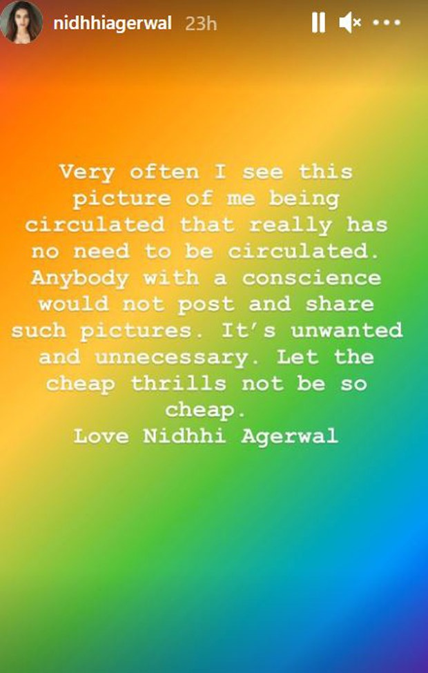 Nidhi Agerwal calls out people sharing unflattering pictures of her; says let the cheap thrills not be so cheap