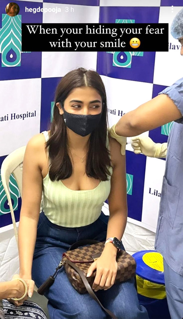 Pooja Hegde gets 'jabbed' with the cutest reaction before getting back to sets