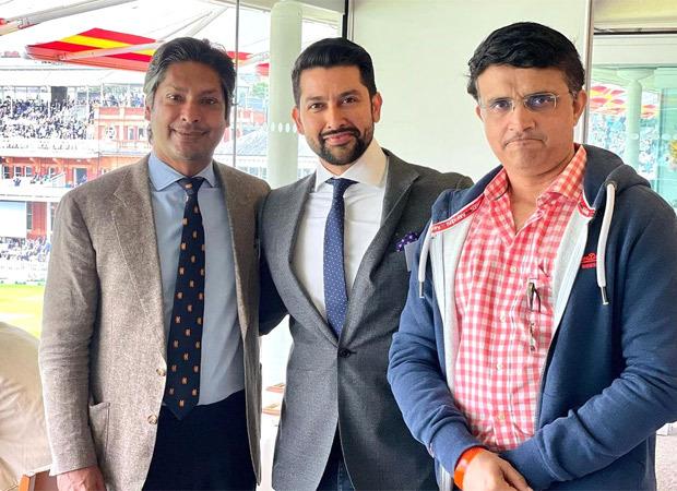 Aftab Shivdasani spotted at Lord's Cricket Ground for IND vs ENG cricket match, meets cricket contemporaries Sourav Ganguly and Kumar Sangakkara