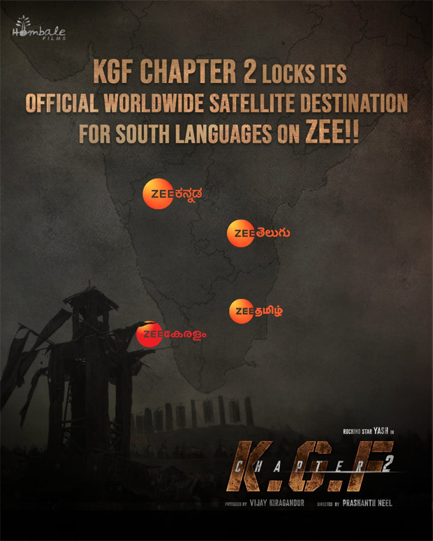 KGF Chapter 2 south satellite rights sold for a record price to ZEE