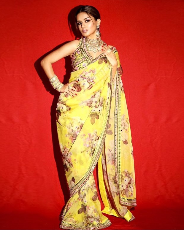 Avneet Kaur exhibits graceful aura in embellished yellow saree with halter neck blouse