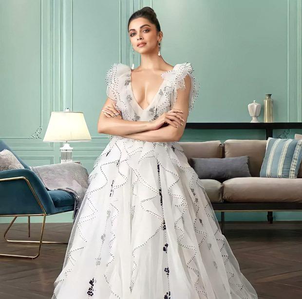 Deepika Padukone looks royal in a white gown by Gauri and Nainika