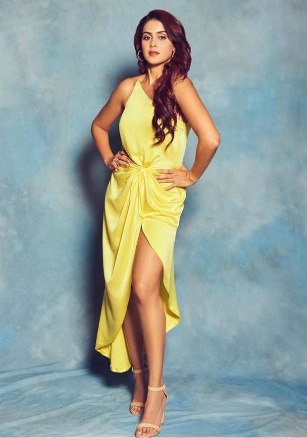 Genelia Deshmukh shines bright in a yellow satin dress