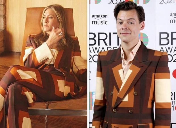 Jennifer Aniston and Harry Styles twin in Gucci retro hues pantsuit; actress says 'just call me Harriet Styles'