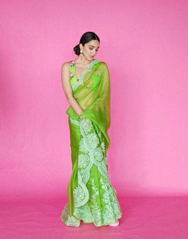 Kiara Advani stuns in an embroidered neon green saree worth Rs. 48,000