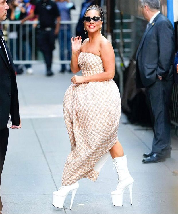 Lady Gaga dons strawberry silhouette Christopher John Rogers worth Rs. 1.7 lakh for her performance at Radio Hall City with Tony Bennet