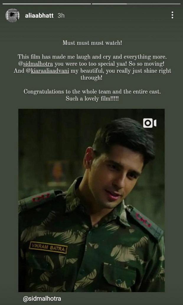 Alia Bhatt pens down an appreciation post for Sidharth Malhotra and Kiara Advani's performances in Shershaah