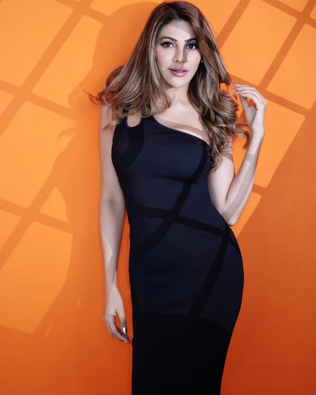 Nikki Tamboli looks hot flaunting her curves in sexy bodycon black one-shoulder dress