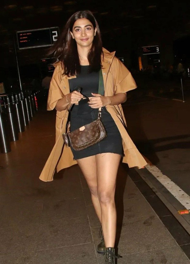 Pooja Hegde spotted at the airport dressed in an all-black set with a Louis Vuitton bag worth Rs. 1.57 lakh