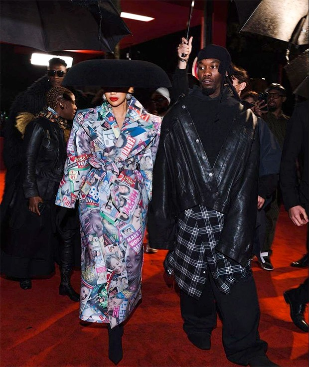 Cardi B makes an over the top appearance for Balenciaga with husband Offset in tow